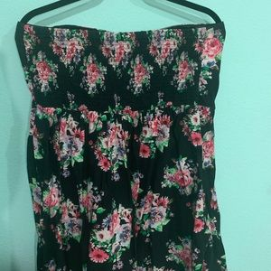 Floral Strapless Short Dress